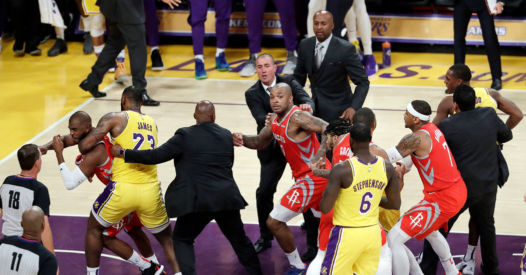 Lakers and Rockets Let Fists Fly in LeBron James's First Home Game