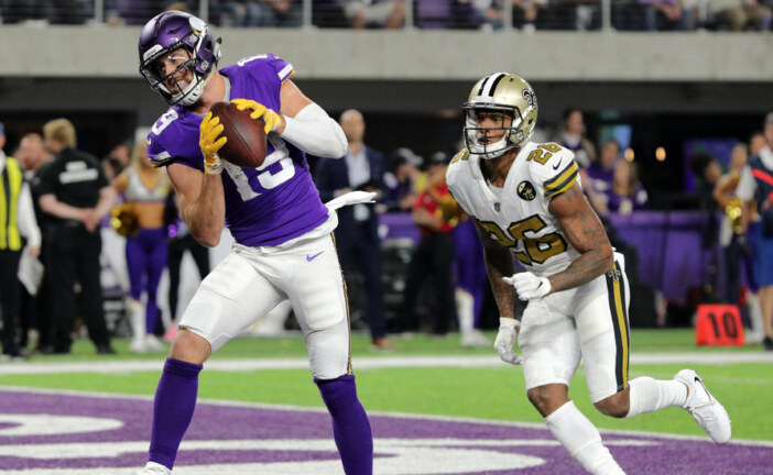 N.F.L. Week 8: Adam Thielen Enters the Record Book With Another 100-Yard Game