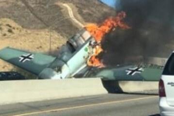 Wormhole? Nazi-Marked Plane Crashes Onto California Freeway, Bursts Into Flames
