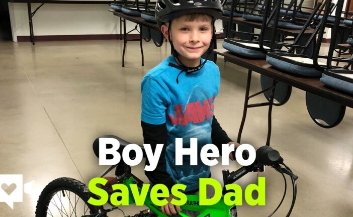Boy pedals down highway to save dad's life
