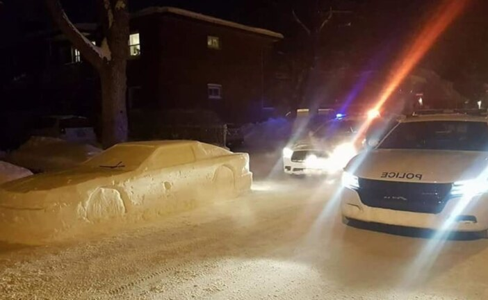 Man Pranks Police With DeLorean Made From Snow