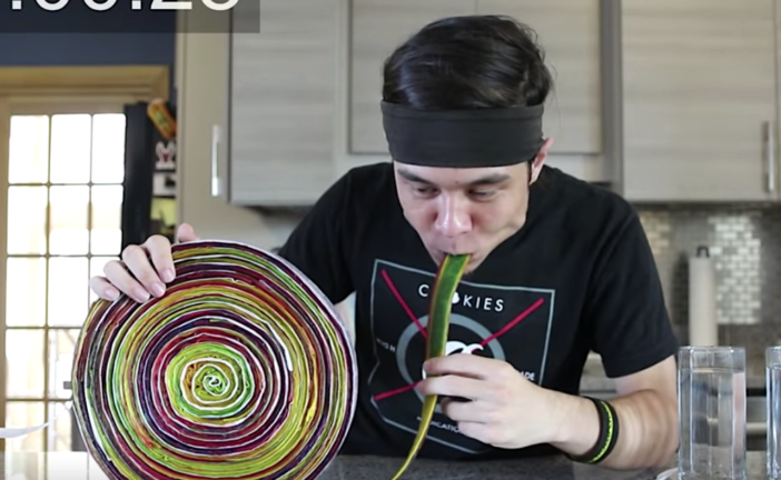 Watch Matt Stonie Nearly Unravel Eating Too Much Fruit By The Foot